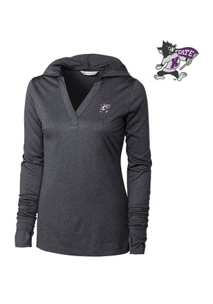 Cutter and Buck K-State Wildcats Womens Grey Chelan Hoodie