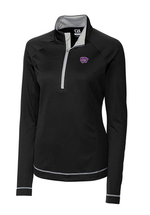 Cutter and Buck K-State Wildcats Womens Evolve Black 1/4 Zip Pullover