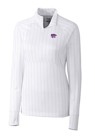 Cutter and Buck K-State Wildcats Womens Hamden White 1/4 Zip Pullover