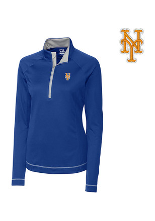 Cutter and Buck NY Mets Womens Evolve Blue 1/4 Zip Performance Pullover