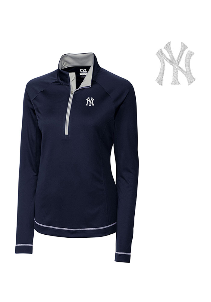 Cutter and Buck NY Yankees Womens Navy Blue Evolve 1/4 Zip Pullover - Image 1
