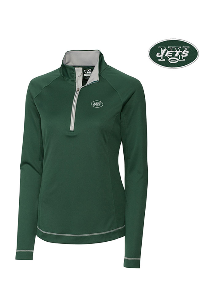 Cutter and Buck New York Jets Womens Evolve Green 1 4 Zip Pullover 1052cd487