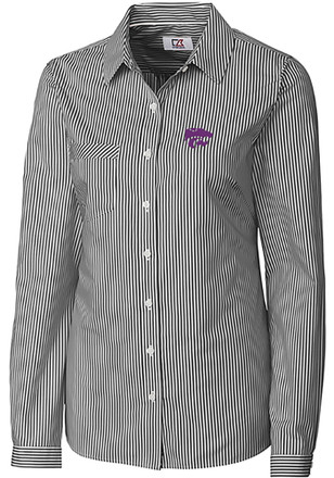 Cutter and Buck K-State Wildcats Womens Grey Mini Bengal Dress Shirt