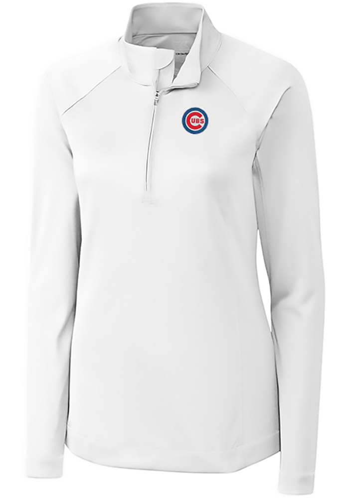 Cutter and Buck Chicago Cubs Womens White Evolve 1/4 Zip Pullover - Image 1