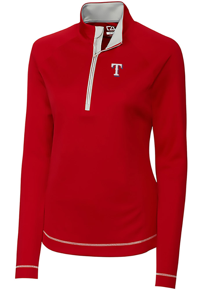 Cutter and Buck Texas Rangers Womens Red Evolve 1/4 Zip Pullover - Image 1