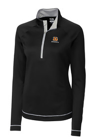 Cincinnati Bengals Womens Cutter and Buck Evolve 1/4 Zip - Black