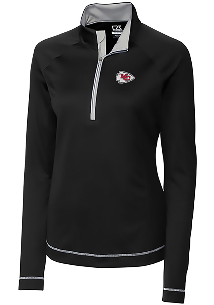 Cutter and Buck KC Chiefs Womens Black Evolve 1/4 Zip Pullover - Image 1