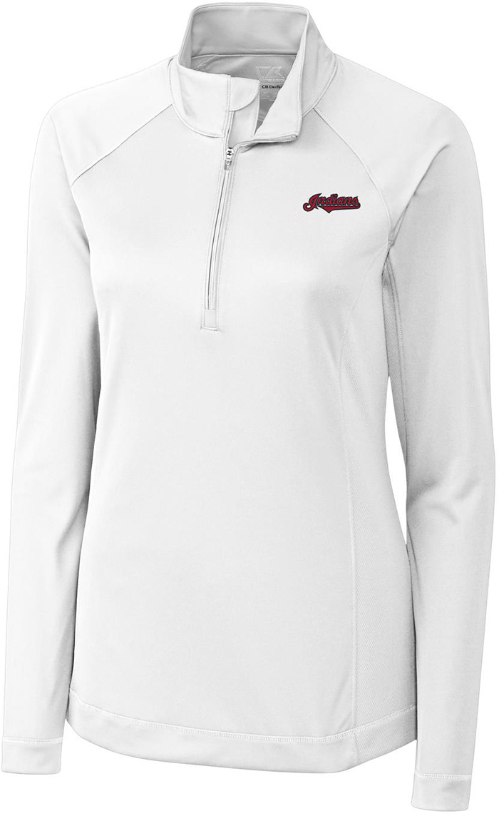 Cutter and Buck Cleveland Indians Womens White Evolve 1/4 Zip Pullover - Image 1