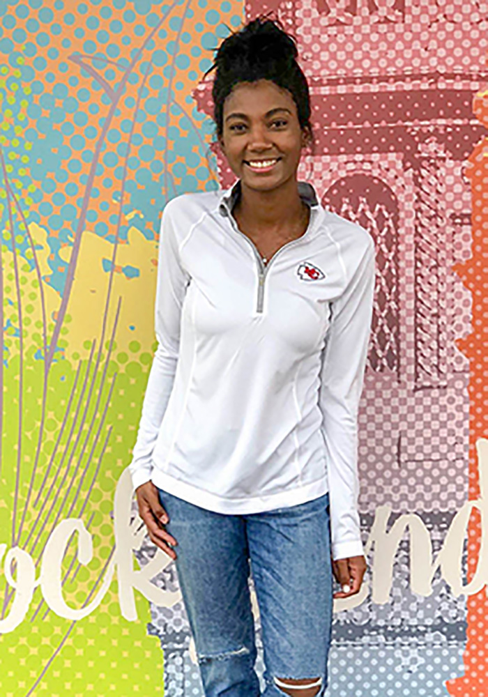 Cutter and Buck KC Chiefs Womens White Evolve 1/4 Zip Pullover - Image 2