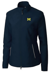 Cutter and Buck Michigan Wolverines Womens Navy Blue Beacon Light Weight Jacket