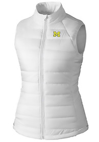 Michigan Wolverines Womens Cutter and Buck Post Alley Vest - White