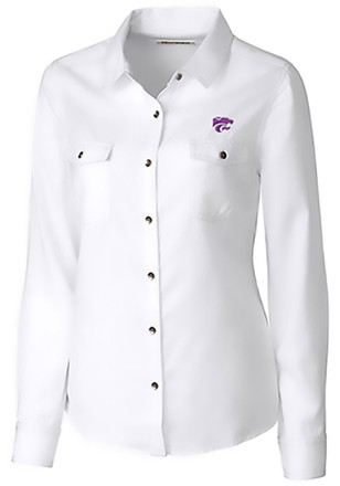 Cutter and Buck K-State Wildcats Womens White Bell Harbor Dress Shirt