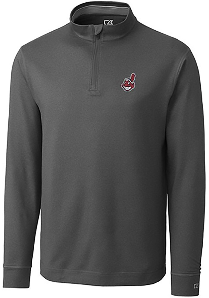 Cutter and Buck Cleveland Indians Mens Grey Topspin Long Sleeve 1/4 Zip Pullover - Image 1