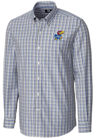 Cutter and Buck Kansas Jayhawks Mens Blue Gilman Dress Shirt