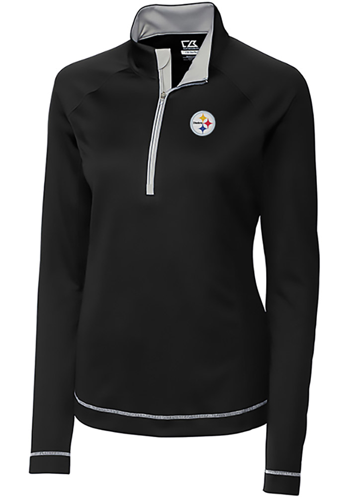 Cutter and Buck Pitt Steelers Womens Black Evolve 1/4 Zip Pullover, Black, 100% POLYESTER, Size XL