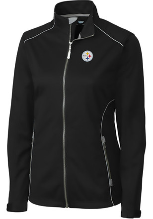 Cutter and Buck Pittsburgh Steelers Womens Black Opening Day Softshell Light Weight Jacket