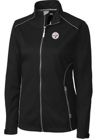 Pittsburgh Steelers Womens Cutter and Buck Opening Day Softshell Light Weight Jacket - Black