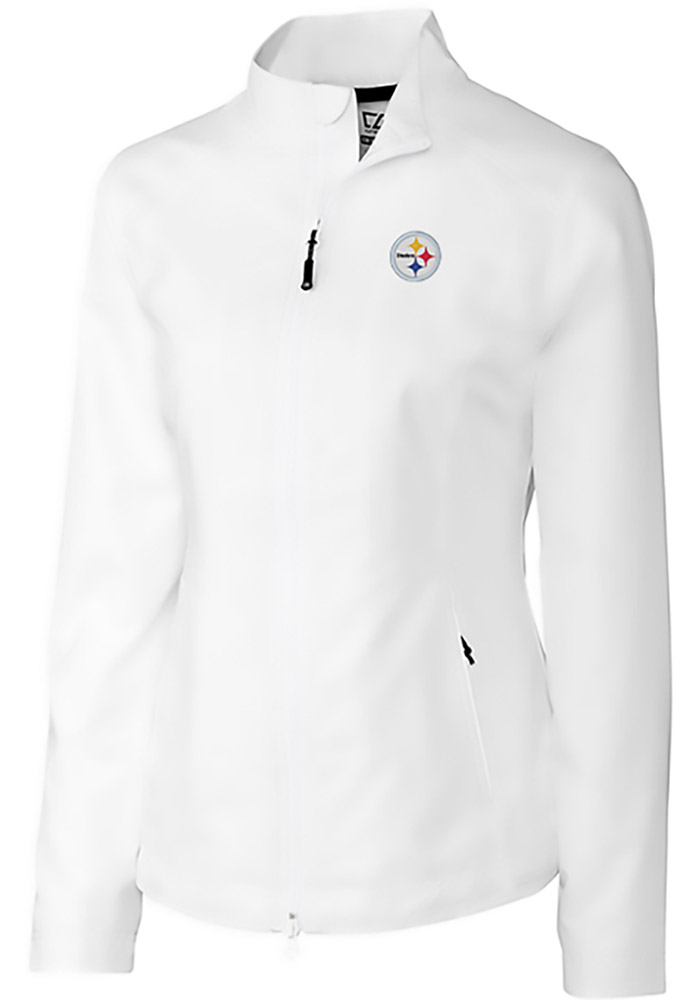 new style 47d7a a4e09 Cutter and Buck Pittsburgh Steelers Womens White Beacon Light Weight Jacket
