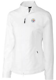 Pittsburgh Steelers Womens Cutter and Buck Beacon Light Weight Jacket - White