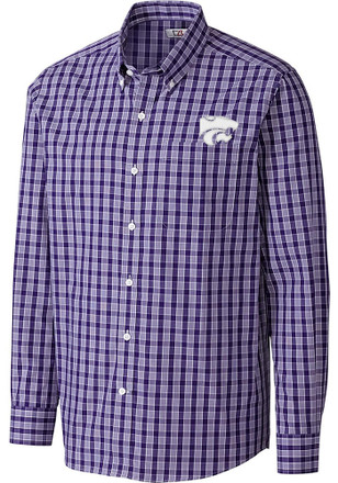 Cutter and Buck K-State Wildcats Mens Purple Discovery Park Dress Shirt