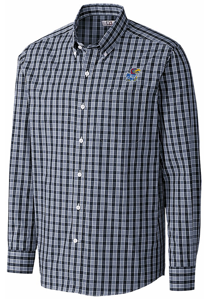 Cutter and Buck Kansas Jayhawks Mens Navy Blue Discovery Long Sleeve Dress Shirt - Image 1