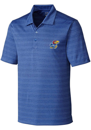 Cutter and Buck Kansas Jayhawks Mens Blue Interbay Melange Short Sleeve Polo Shirt
