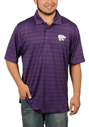 Cutter and Buck K-State Wildcats Mens Purple Interbay Melange Short Sleeve Polo Shirt