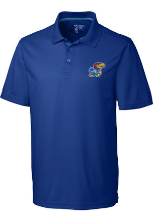 Cutter and Buck Kansas Jayhawks Mens Blue Fairwood Short Sleeve Polo Shirt