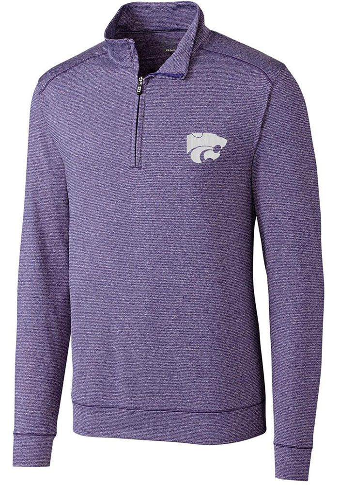 Cutter and Buck K-State Wildcats Mens Purple Shoreline Long Sleeve 1/4 Zip Pullover - Image 1
