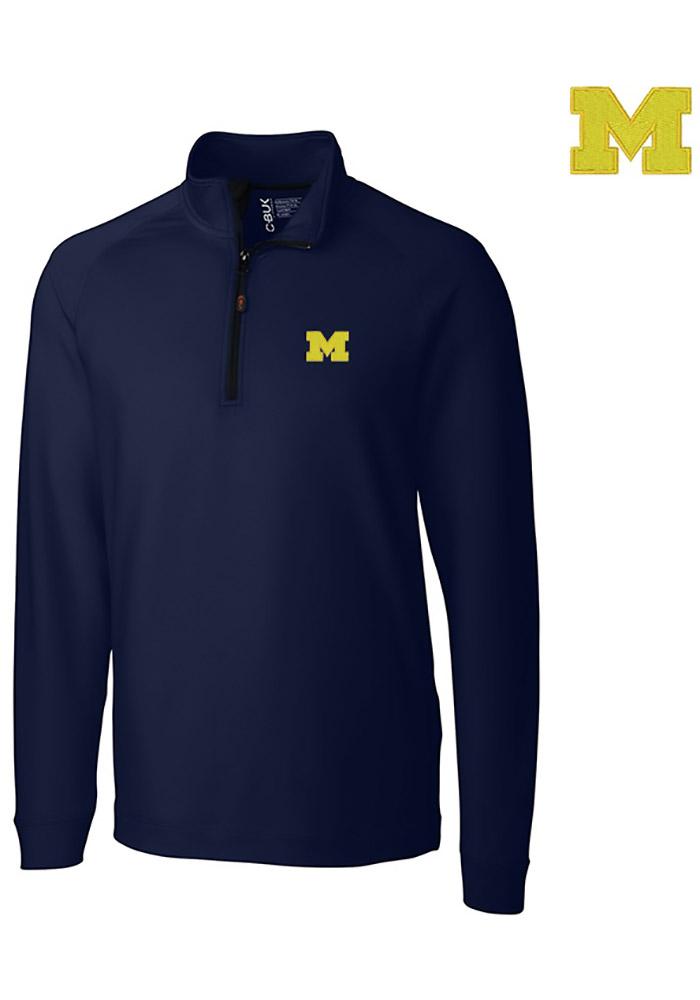 Cutter and Buck Michigan Wolverines Mens Navy Blue Jackson Long Sleeve 1/4 Zip Pullover - Image 1