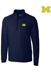 Michigan Wolverines Cutter and Buck Jackson 1/4 Zip Pullover - Navy Blue