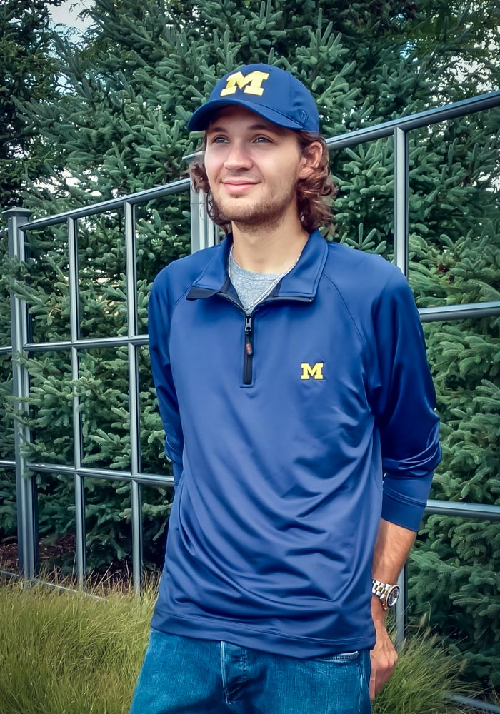 Cutter and Buck Michigan Wolverines Mens Navy Blue Jackson Long Sleeve 1/4 Zip Pullover - Image 2