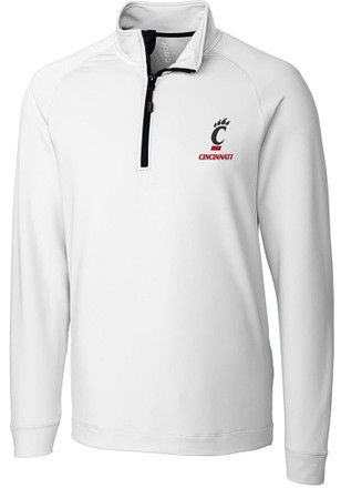Cutter and Buck Cincinnati Mens White Jackson 1/4 Zip Performance Pullover