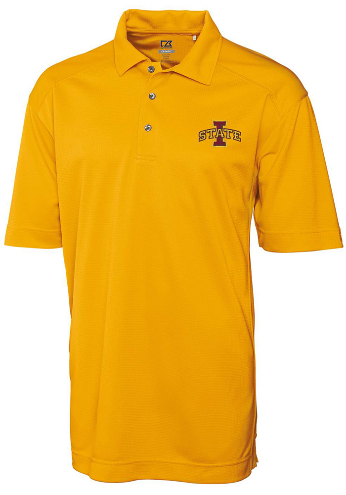 Cutter and Buck Iowa State Cyclones Mens Gold Genre Short Sleeve Polo - Image 1