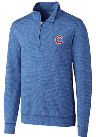 Cutter and Buck Chicago Cubs Mens Blue Shoreline 1/4 Zip Pullover