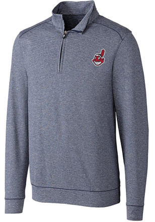 Cutter and Buck Cleveland Indians Mens Navy Blue Shoreline 1/4 Zip Pullover