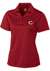 Cincinnati Reds Womens Cutter and Buck DryTec Genre Polo Shirt - Red