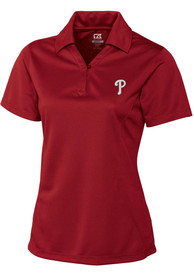 Philadelphia Phillies Womens Cutter and Buck DryTec Genre Polo Shirt - Red