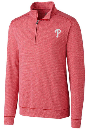 Cutter and Buck Phillies Mens Red Shoreline 1/4 Zip Pullover