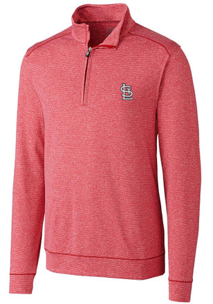 Cutter and Buck STL Cardinals Mens Red Shoreline 1/4 Zip Pullover