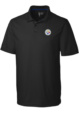 Cutter and Buck Pittsburgh Steelers Mens Black Fairwood Short Sleeve Polo Shirt