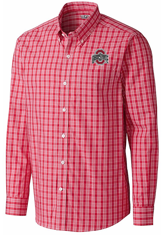 Cutter and Buck Ohio State Buckeyes Mens Red Discovery Long Sleeve Dress  Shirt - Image 1 5265f3cd9