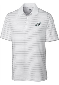 Philadelphia Eagles Cutter and Buck Franklin Stripe Polo Shirt - White