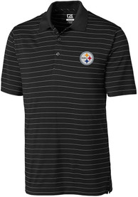 Pittsburgh Steelers Cutter and Buck Franklin Stripe Polo Shirt - Black