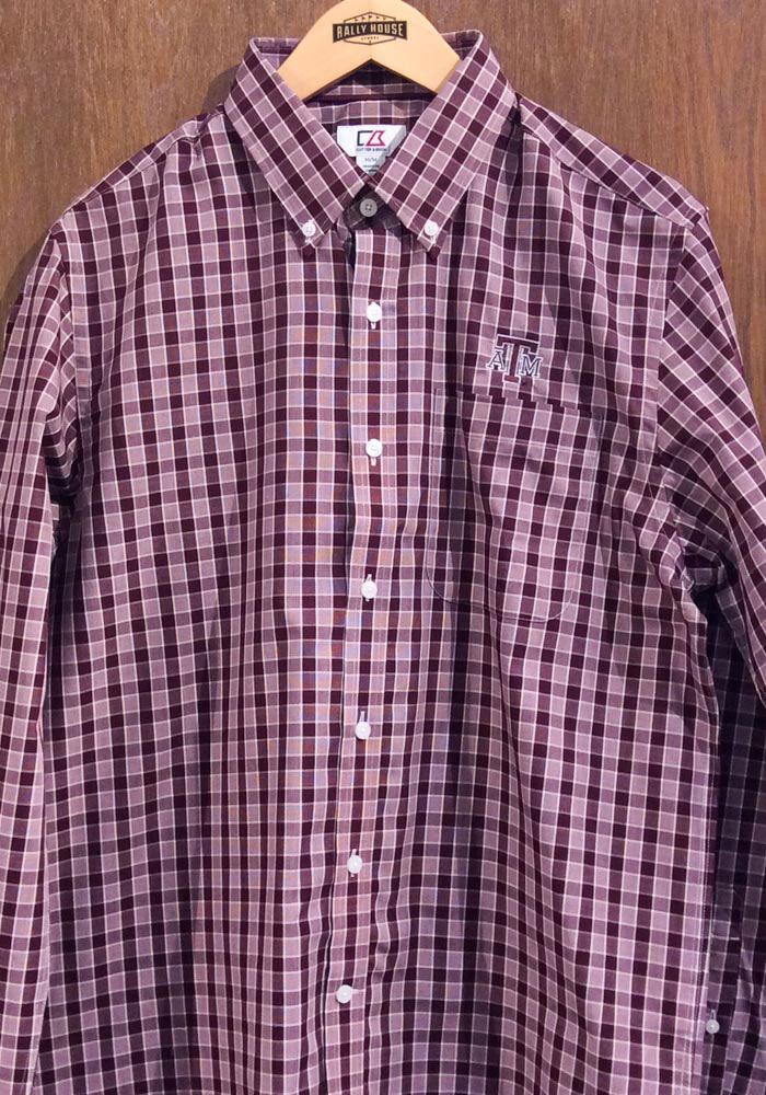 Cutter and Buck Texas A&M Aggies Mens Maroon Discovery Long Sleeve Dress Shirt - Image 2