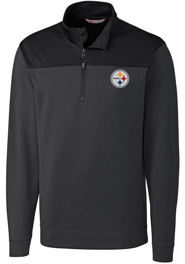 Cutter and Buck Pittsburgh Steelers Mens Black Skyridge Long Sleeve 1/4 Zip Pullover, Black, 100% POLYESTER FLEECE, Size XL