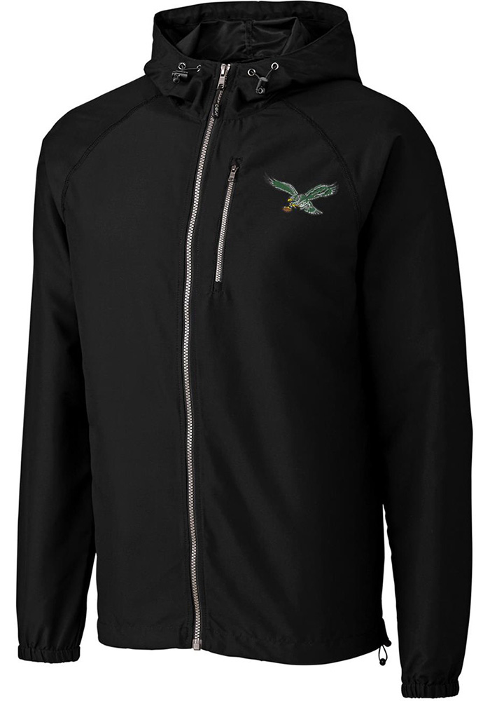 Cutter and Buck Philadelphia Eagles Mens Black Anderson Light Weight Jacket, Black, 100% POLYESTER, Size M