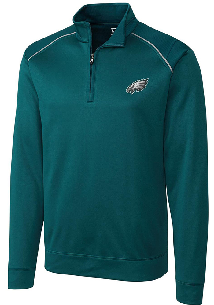 Cutter and Buck Philadelphia Eagles Mens Midnight Green Ridge Long Sleeve 1/4 Zip Pullover - Image 1