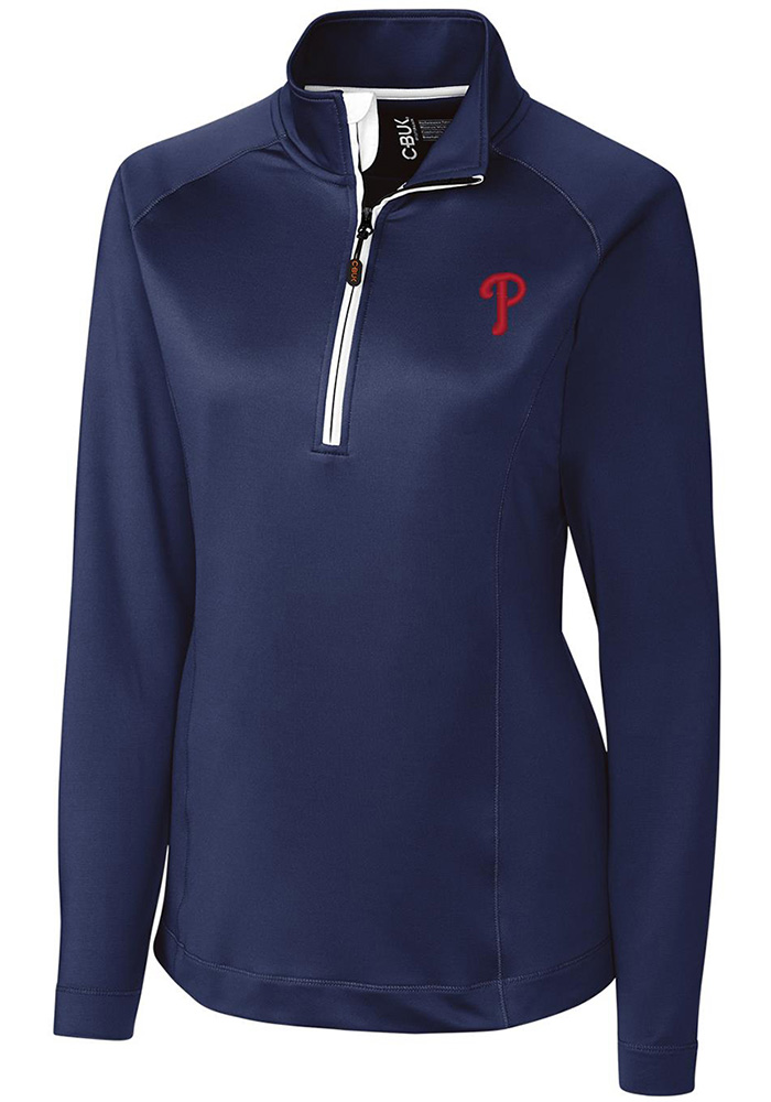 Cutter and Buck Phillies Womens Navy Blue Jackson 1/4 Zip Pullover - Image 1