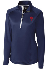 Philadelphia Phillies Womens Cutter and Buck Jackson 1/4 Zip - Navy Blue
